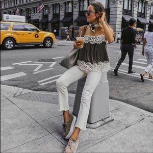 Zara Grey Lace Camisole